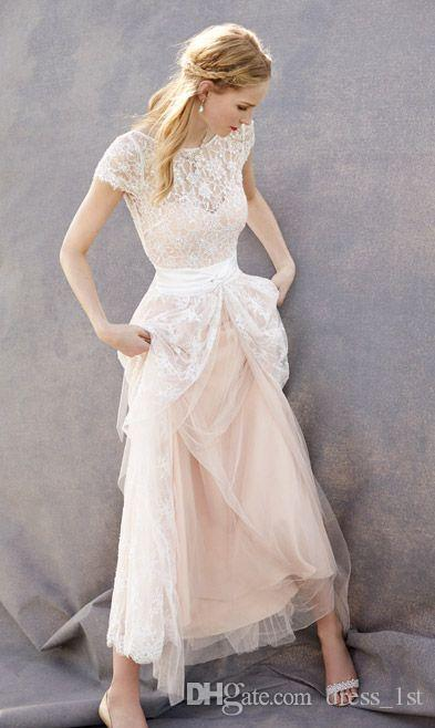 2017 Bohemian Beach Lace Wedding Dresses Cheap Bateau Short Sleeve Front Split Blush Pink Tulle Bridal Gowns Custom Made China EN11224