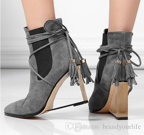 2017 Autumn Crystal Wedge Heel Suede Ankle Boots Pointed Toe Genuine Leather Women Wedge Boots Fashion Fringed High Heel Shoes