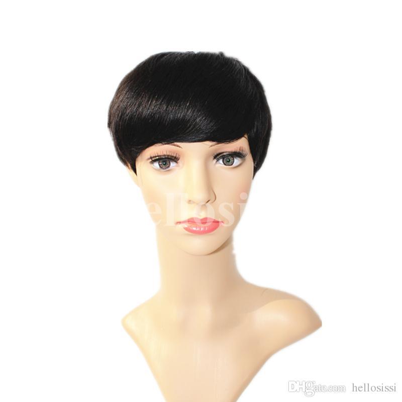 New Human Hair Wig Short Pixie Cut Wig Ladies Black Short Cut Wigs For Black Women African Hair Cut Style Hot Sale