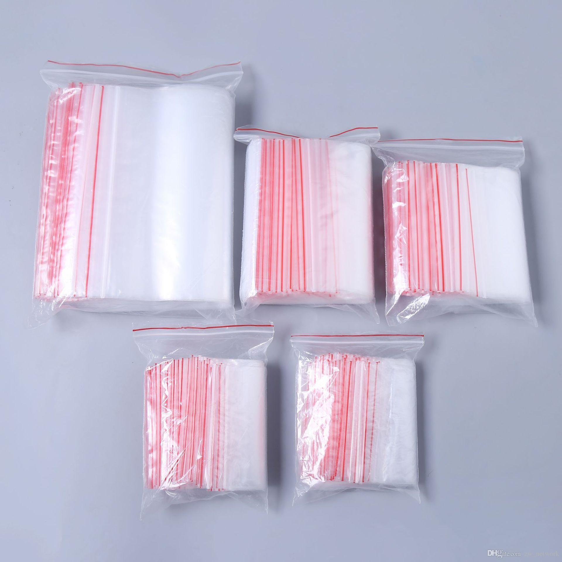 100 unidades / lotes sacos de embalagem clara Zipper Auto Saco De Plástico de Vedação de Varejo Pacote de Embalagem Saco Poli Ziplock Zip Lock Saco De Armazenamento Pacote Pendurar buraco