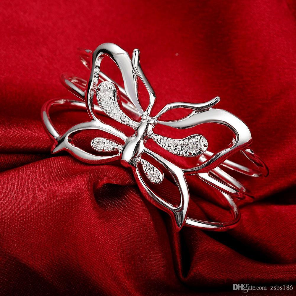 Küresel Sıcak 925 ayar gümüş kaplama kelebek bilezik Yüzük Set Zirkon moda takı parti hediye ile kadın Ücretsiz kargo