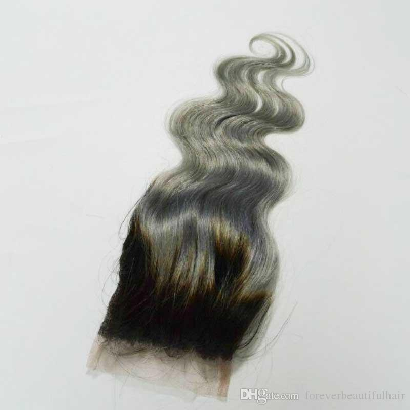 """1B/Grey Closure Brazilian Virgin Hair Two Tone Ombre Dark Root 4x4"""" Body Wave Ombre Lace Closure Grey Hair"""