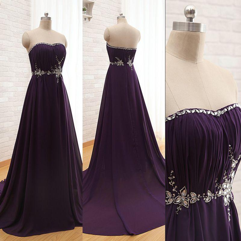 f901ba3b807c Stunning Dark Purple Chiffon Prom Dress Long Sweetheart Sleeveless Exquisite  Beads Crystals Custom Made Evening Gowns With Train Prom Dresses Birmingham  ...