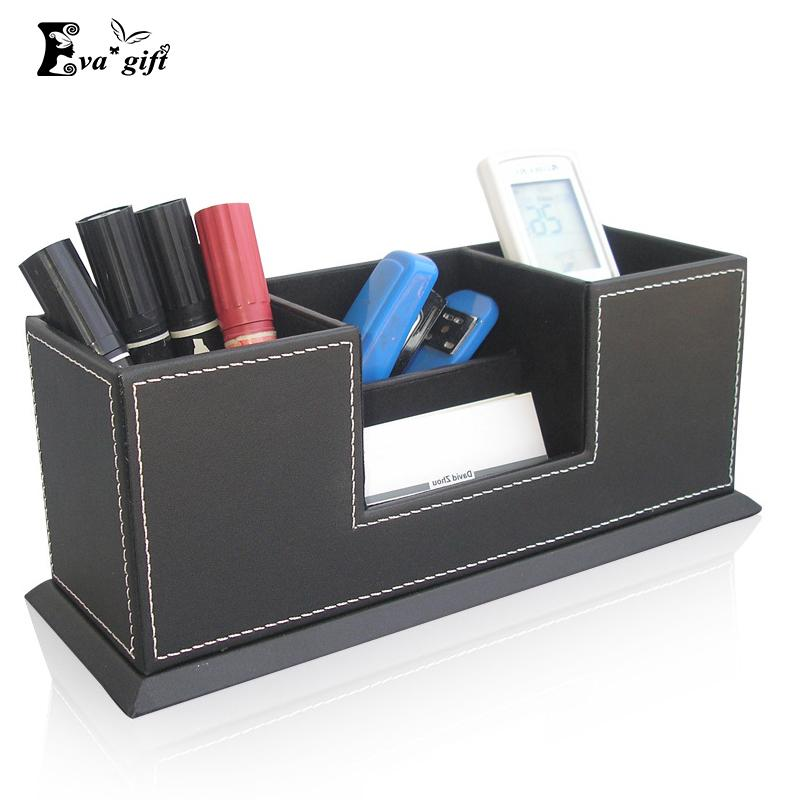 2018 Multi Functional Pu Leather Desktop Pen Box For Office Supplies  Organizer Storage Box Remote Control Pencil Boxes Holder Case Q171126 From  Mingjing01, ...
