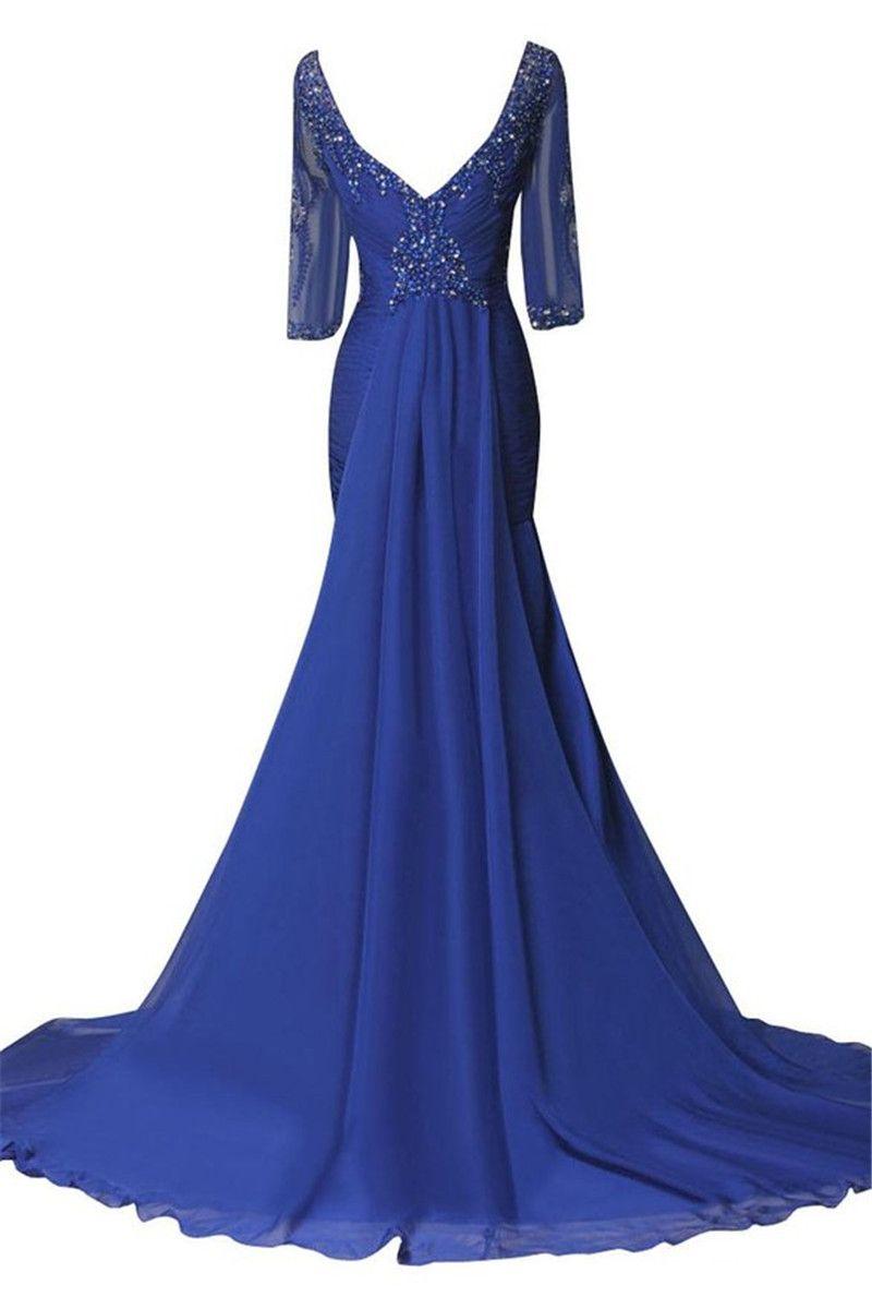 2019 Scoop Neck with Beaded Evening Long Dresses vestidos de noiva Half Sleeves Floor Length formal prom gowns