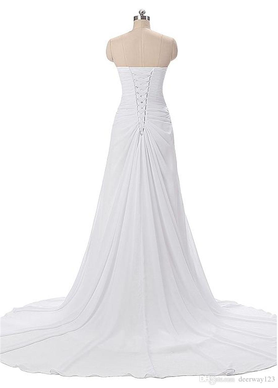 Con pliegues de gasa que fluye cariño escote una línea de vestidos de noche con cuentas de cintura vestido de fiesta blanco vestidos de formatura curto