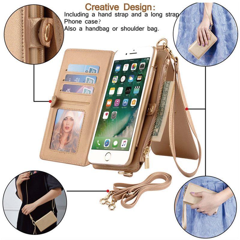Leather Case Flip Wallet Cover for iPhone 11 pro xs max x 6 7 8 plus Zipper Handbag Shoulder Bag Card Slots samsung note 8 9 s8 s9 plus