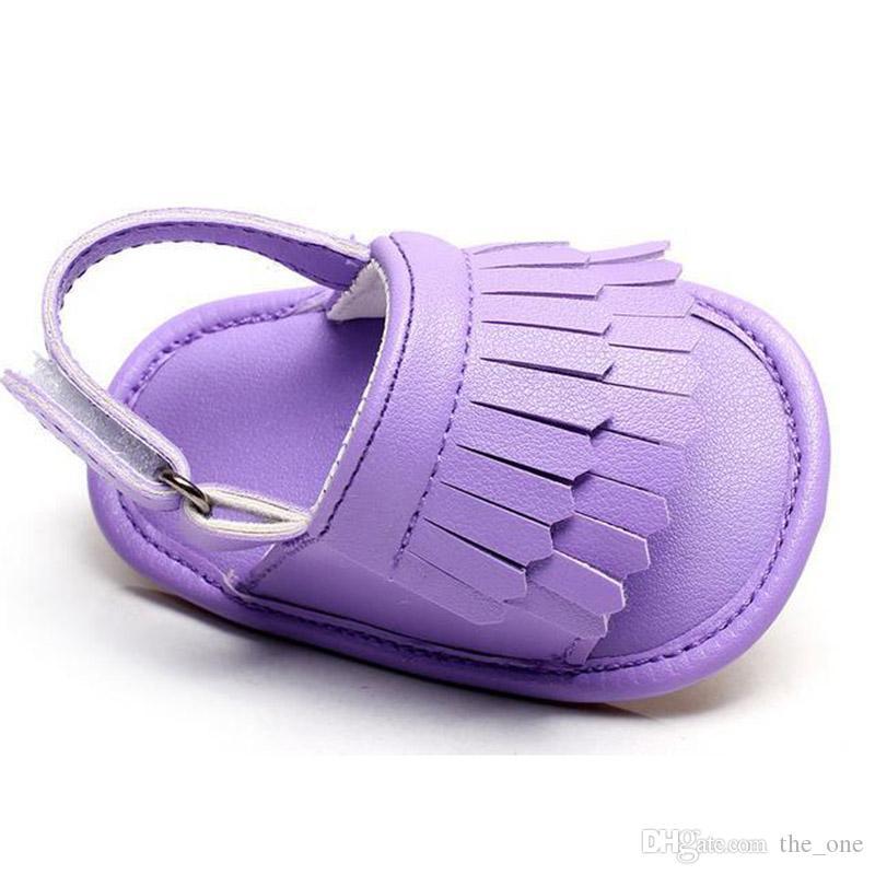 Neue Sommer Stil Baby Mokassins weichen unteren Rand Candy Farbe Mädchen Kleinkind Schuhe Baby Hausschuhe Jungen Prewalker Baby Sandale