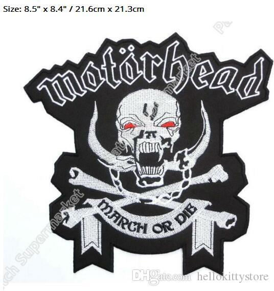 "8.5"" XL LARGE MOTORHEAD England Marh or DIE Patch Biker Vest Jacket Back Music Band EMBROIDERED Iron On rockabilly LOGO"