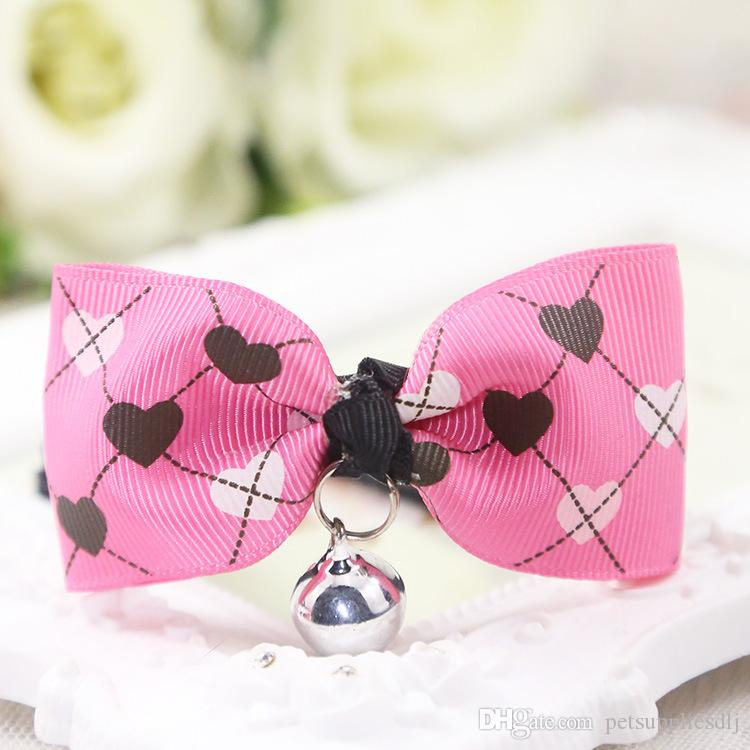 D37 New Sweety Pet Bow Tie Collar Cartoon Puppy Small Dog Cat Grooming Adjustable Neck Tie with Bell Dog Party Necktie