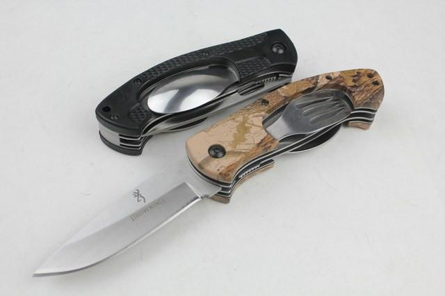 BROWNING-970 camping knife two-color special 440C 57HRC outdoor camping hunting wild gift knife