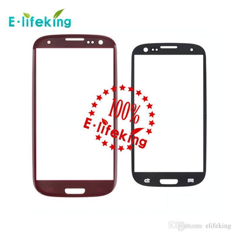 Yeni Samsung Galaxy S3 SIII I9300 Için Hiçbir Dokunmatik Digitizer ön dış ekran cam lens beyaz / siyah / kırmızı / mavi / pembe Ücretsiz Kargo