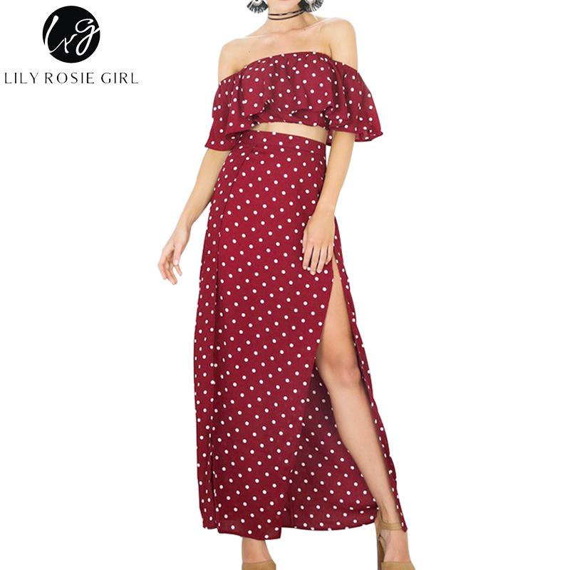 e8e33ef72a0 2019 Wholesale Lily Rosie Girl Women 2017 Off Shoulder Empire Dot Loose  Summer Maxi Dress Slash Neck Short Sleeve Sexy Beach Dresses Vestidos From  Bida Jany ...