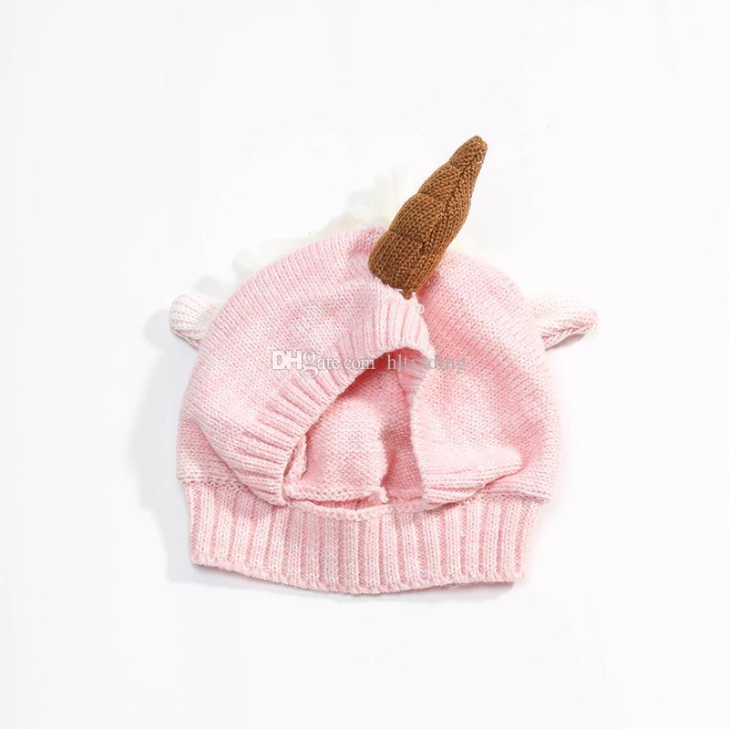 Mais novo infantil unicórnio chapéus De Inverno De Malha De Malha Chapéus Tampas de Hedging Quente dos desenhos animados Mão Crochet Caps C2814