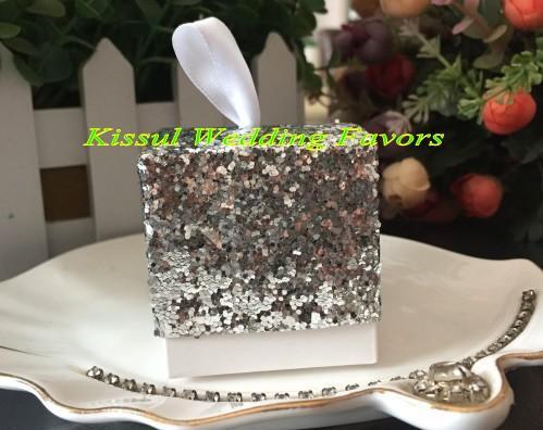 100 шт /  Искорка и Shine Silver Glitter пользу Box для серебра и золота Свадебной и Bridal Party подарочные коробки Бесплатная доставка