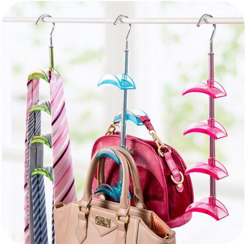 4 Hooks Handbag Purse Bag Holder Shelf Hanger Hanging Rack Storage Organizer For Wardrobe Closet -