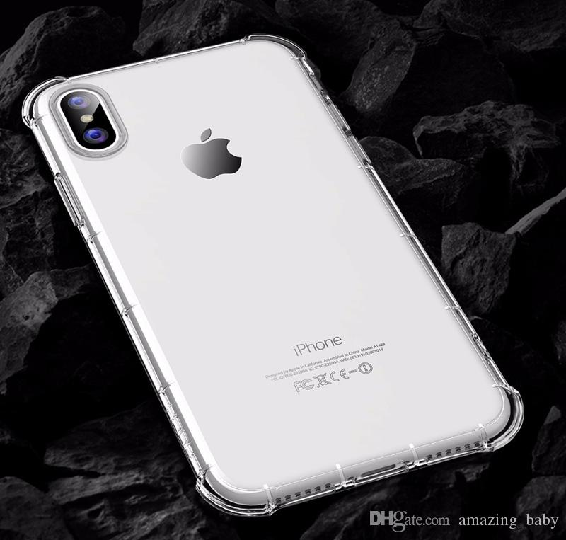 Clear Dirty Resistant Silicon Light Weight Case for iphone X Transparent Hard PC Back+TPU Bumper Corner Cushion Shockproof phone Shell