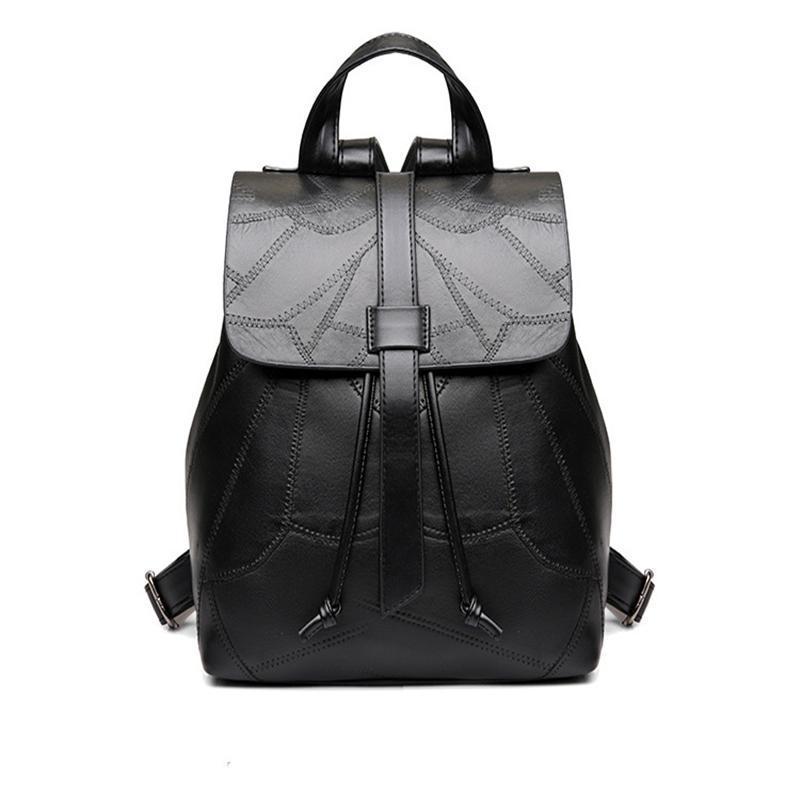 ad4ff58b694 Black Backpack Women Genuine Leather Backpack School Bags Lady ...