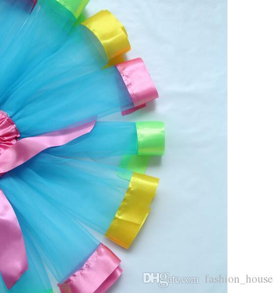DHL Filles Mixte Arc En Ciel Couleur Satin Garnis De Gaze De Danse De Ballet Jupon Enfants Tutu Jupes Bébé Ruban Fête D'anniversaire Costume D'halloween A 080