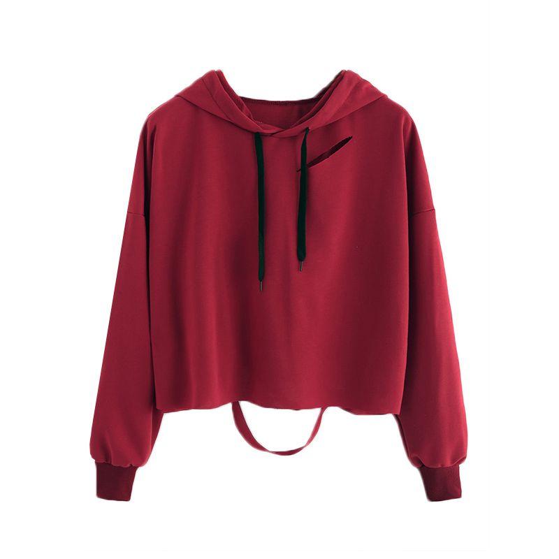 Fabuloso Moleton Feminino Inverno 2017 Women Sweatshirts Casual Style Holes  FH54