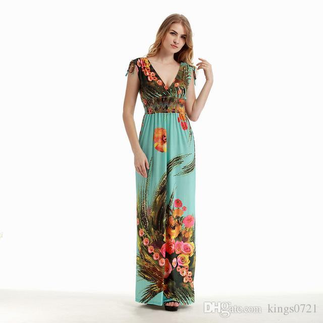 d8a7a8a7c4e 2017 Womens Summer Elegant Vintage Boho Beach Clothing Ladies Bohemian Print  Maxi Long Dress Plus Size 5XL 6XL Vestidos White Dresses For Women Womens  ...