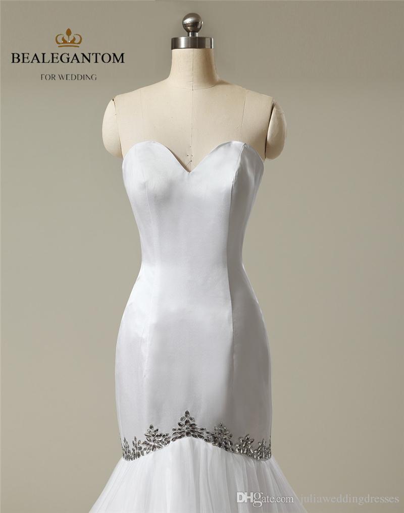 흰색 섹시한 인어 웨딩 드레스 연인 아플리케 새틴 바닥 길이 파티 드레스 신부 가운