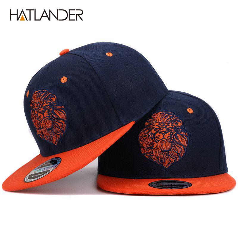 de10e60b69b19 High Quality Lion Face Embroidery Snapback Cap Cool King Hip Hop Hat ...