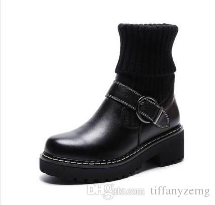 Kniehoher Stiefel der Mode-neue Frauen-Cowboy-Schuh-Plattform-Stiefeletten-echtes Leder-Schnallen-Designer-Luxus-Winter-schwarze Schuhe