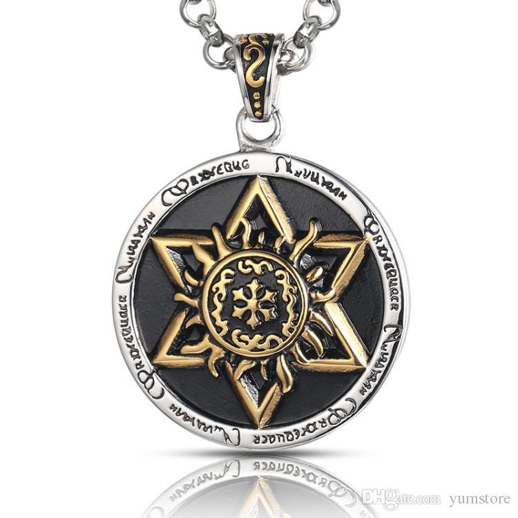 Hot Six Stars Подвески Ожерелье Из Нержавеющей Стали Мужчины Подвески Ретро Стиль Позолоченный Круглый Ожерелье Для Мужчин