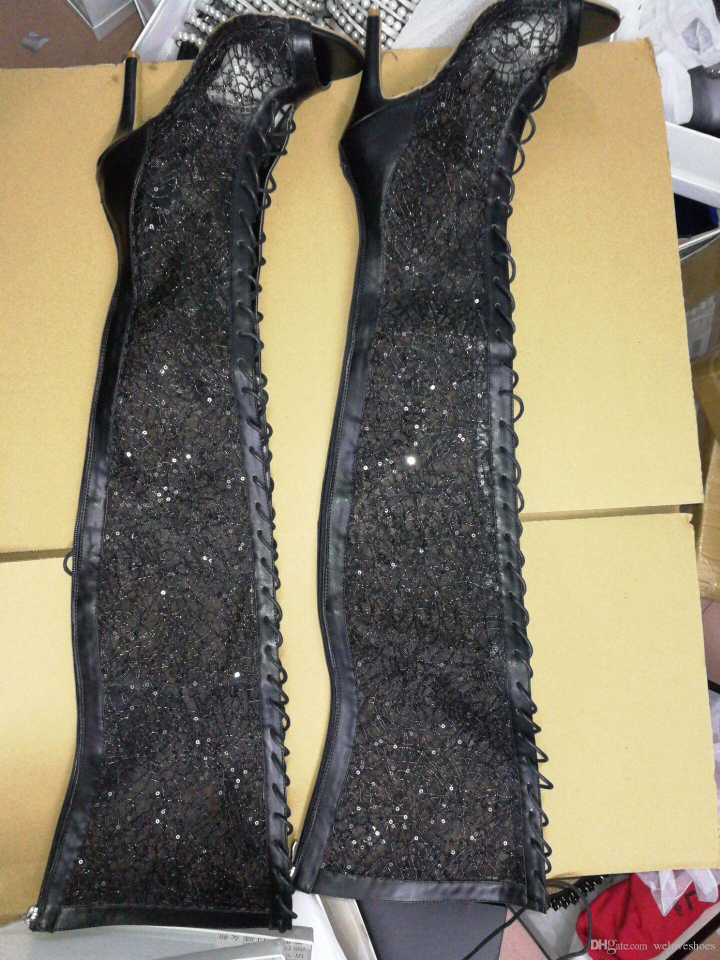 2017 frauen über kniehohe gladiator sommer stiefel dünne ferse schwarz spitze booties oberschenkel hohe stiefel peep toe kleid schuhe