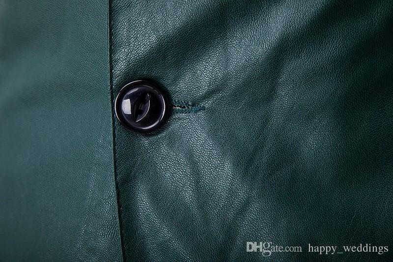 Erkek Casual Suit Uzun Kollu Yeni Kış Adam Kişilik PU Deri Cilt Suit Ceket Cepler Erkekler Blazer Slim Fit Bir Düğme
