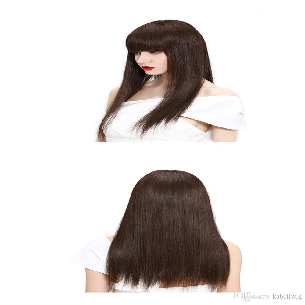 # 2 FULL LACE WIGS Senior soie brun foncé brésilien vierge de cheveux humains 100% short bob pleine perruque de cheveux humains en dentelle YAKI STRAIGHT cheveux bébé kabell