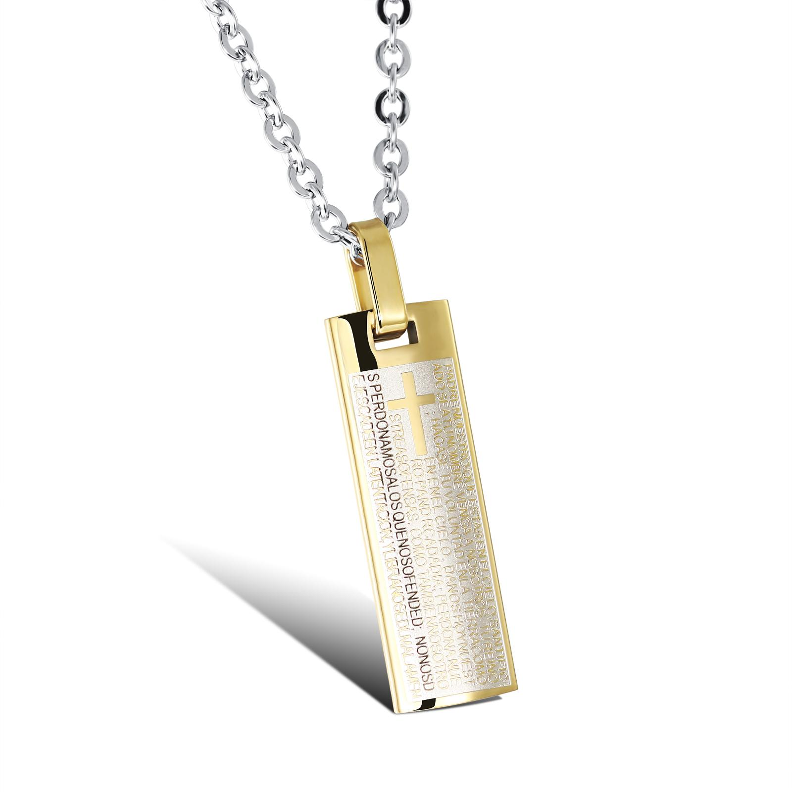 Wholesale Classic Male White/Gold Color Stainless Steel Necklaces ...