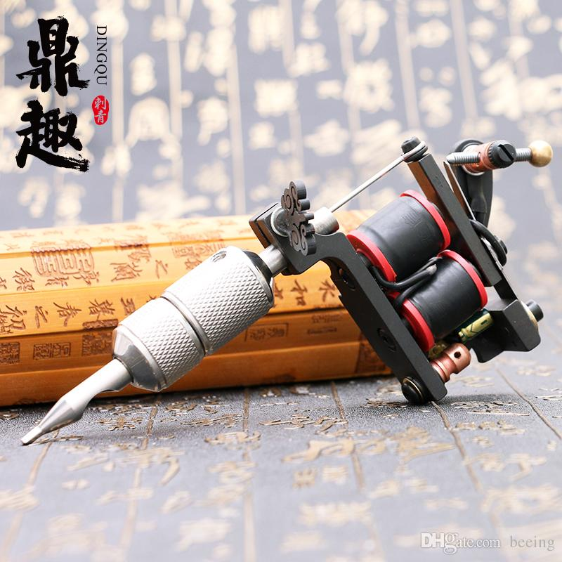 Top Quality Compass Tattoo Machine Shader And Liner Gun 10 Wraps Steel Frame Copper Coils Tattoo Supplies TM2120