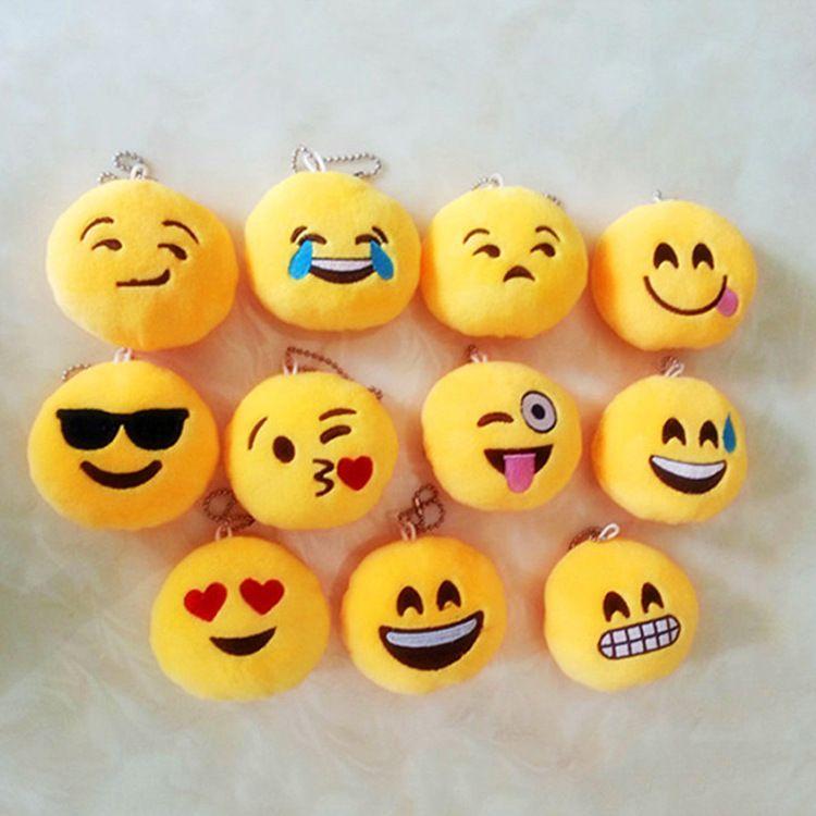 mix style QQ Novelty Heart Rose Monkey Emoji Pendant Smiley Emoticon Soft Plush Toys Key&Bag Chain Phone keychain XZ44