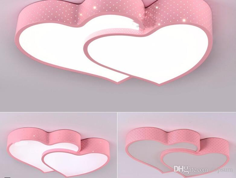 Romantic Ceiling Lamp Lamparas De Techo LED Love Shape Cartoon Wedding Room Light  Girl Bedroom Light With Color Changing