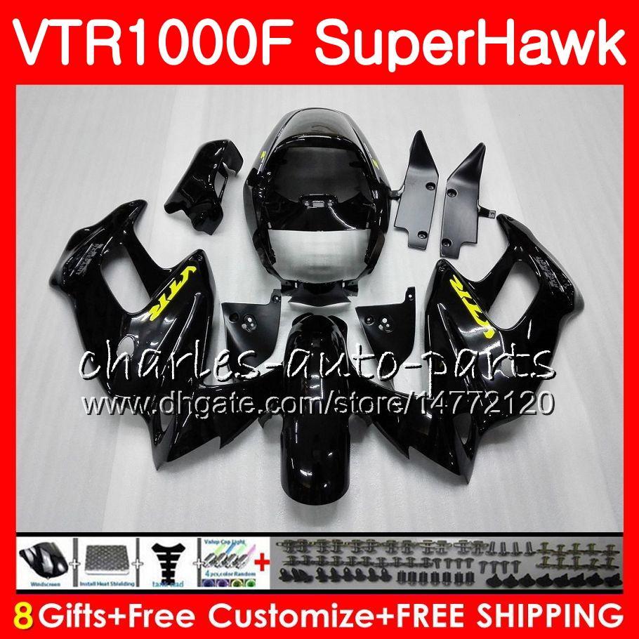 Cuerpo negro brillante para HONDA VTR1000F SuperHawk 97 98 99 00 01 02 03 04 05 91HM4 VTR 1000F 1997 1998 1999 2000 2002 2003 2004 2005