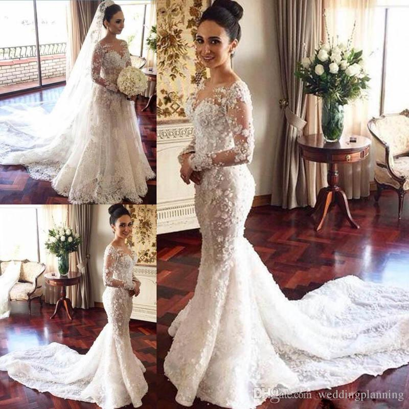 20 Of The Most Stunning Long Sleeve Wedding Dresses Chic: 2017 Long Sleeves Wedding Dresses With Overskirt