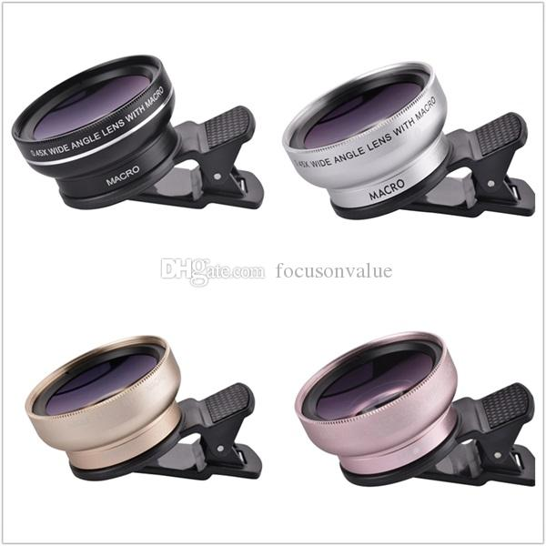 Universal Clip phone lens HD 37mm 0.45X Super Wide Angle + 12.5X Macro Lens for iPhone Samsung HTC Mobile Phone Camera Lens
