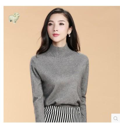 2017 100% Pure Cashmere Sweater Female O Neck Cutout Jacquard ...