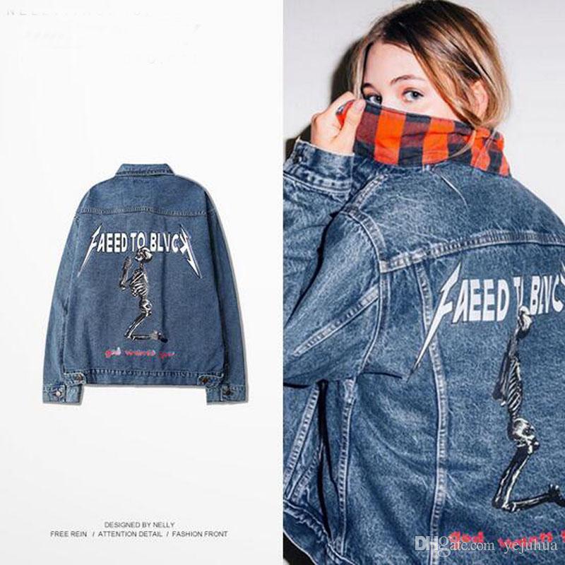 Mens Denim Jacket Skeleton Broken Hole Sweatshirts Fashion ...