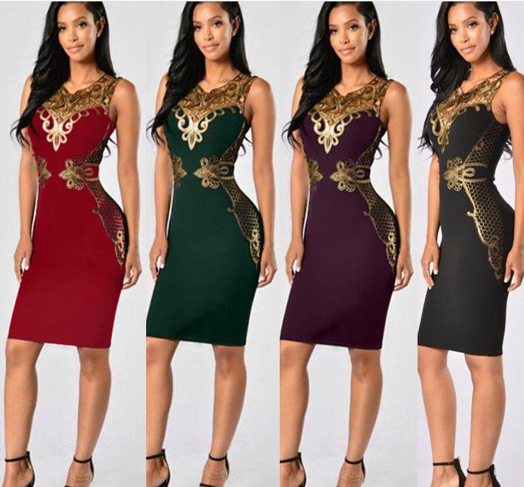 5e298bb33 Compre Vestidos De Noche Elegantes Para Mujer Vestidos De Fiesta De Cóctel  De Encaje Vestidos Sin Mangas Con Cuello De Encaje Bodycon Midi Sundress es  A ...