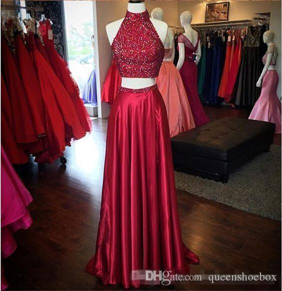 Sexy Red Beading Sequins Prom Dresses 2017 Halter Neck Two Pieces Front Split Evening Dresses Long Formal Party Celebrity Gowns Custom Made