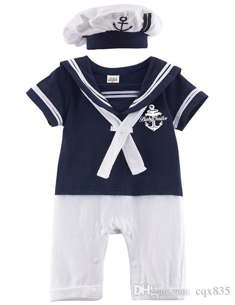 2018 Baby Boy Black Navy Sailor Uniform Costume Romper Striped Turn Down Collar One Piece Infant Short Sleeve Cotton Jumpsuit With White Hat From Cqx835 ...  sc 1 st  DHgate.com & 2018 Baby Boy Black Navy Sailor Uniform Costume Romper Striped Turn ...