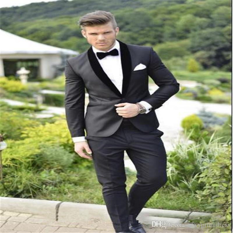 2017 Groom Tuxedos Custom Made Charcoal Grey Best man Shawl Black Collar Groomsman Men Wedding Suits Bridegroom Jacket+Pants+Bowtie