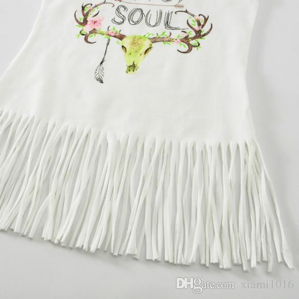 2017 Baby Girls Clothes White Dress Summer Princess Tutu Tassel Vest T Shirt Dresses Printed Flower Deer Kids Cotton Skirt