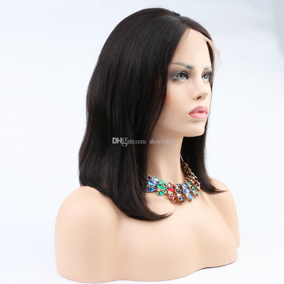 Cabelo humano virgem Bob Glueless cabelo humano perucas não transformados cabelo humano curto Bob perucas para mulheres negras