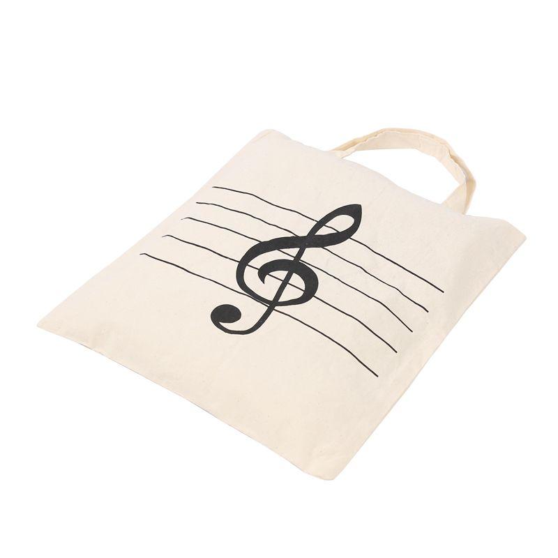 Violinschlüssel Muster Baumwolle Handtasche Baumwolle Tasche Shopper Einkaufstüten Kinder Studenten Wiederverwendbare Tragetaschen 36 * 41 cm