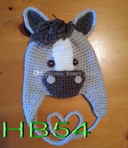 2019 Infant Children Crochet Horse Hat Newborn Photo Prop Baby Boys Animal  Beanie Earflaps Winter Kids Halloween Christmas Children Cotton Hat From ... 3c9c469e04d