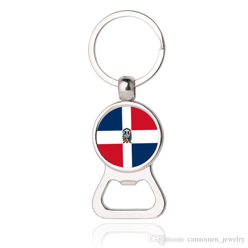 Beer Bottle Opener Key Chains Colombia Dominican Dominique Ecuador Fiji Islands Montenegro Flag Car Keyrings EDC Men Fashion Jewelry